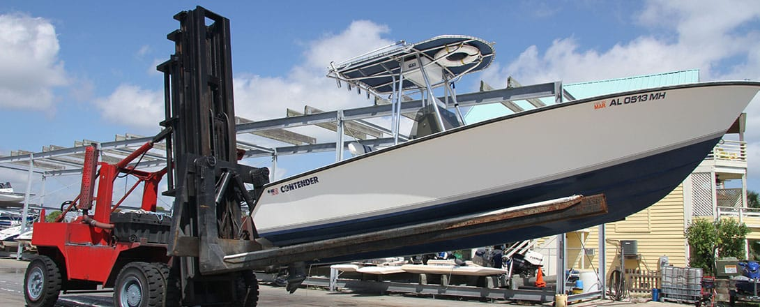 We offer dry boat storage and forklift services.