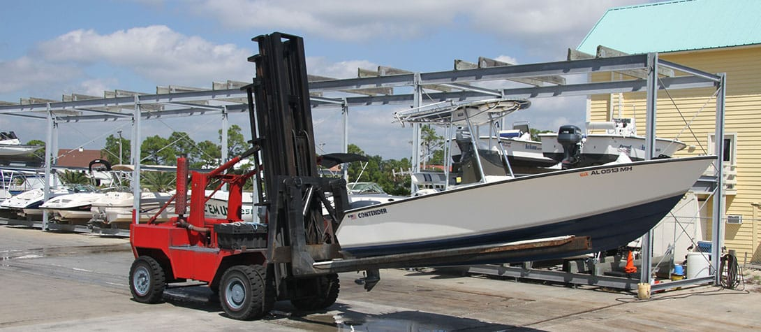 Dry-Storage and Forklift Service available at Happy Harbor Marina.