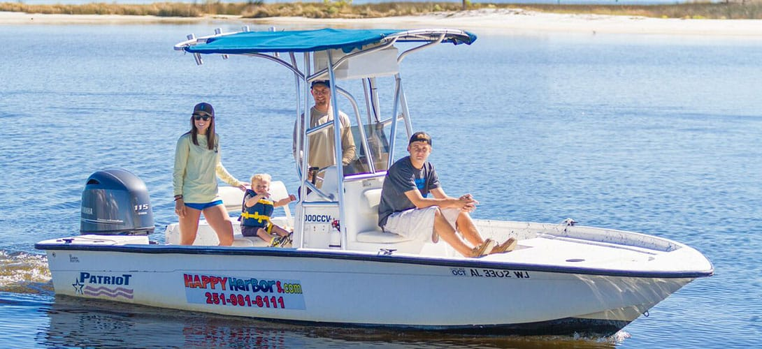 Runabout Boat Rentals in Orange Beach at Happy Harbor Marina.